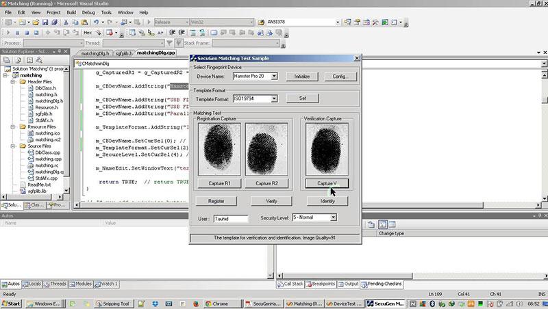 Fingerprint Matching Using Secugen SDK