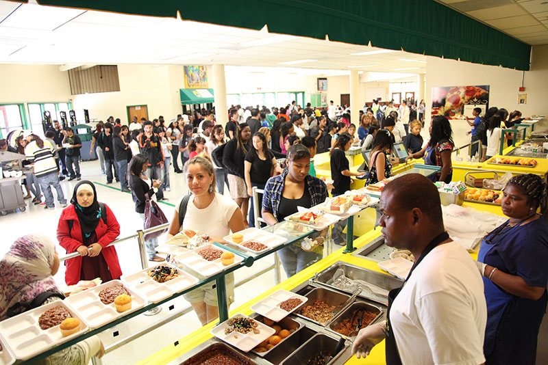 Traditional School Lunch Line