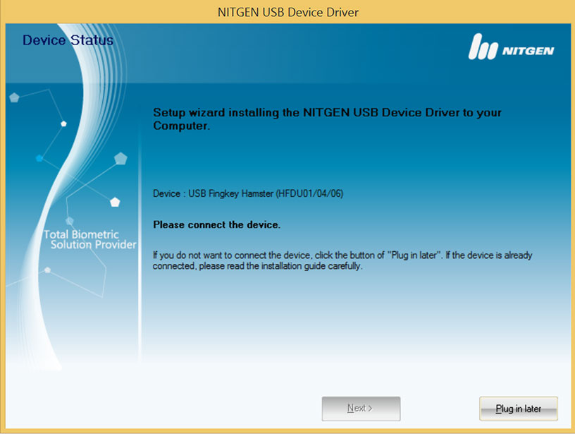 NITGEN USB DRIVERS FOR WINDOWS VISTA