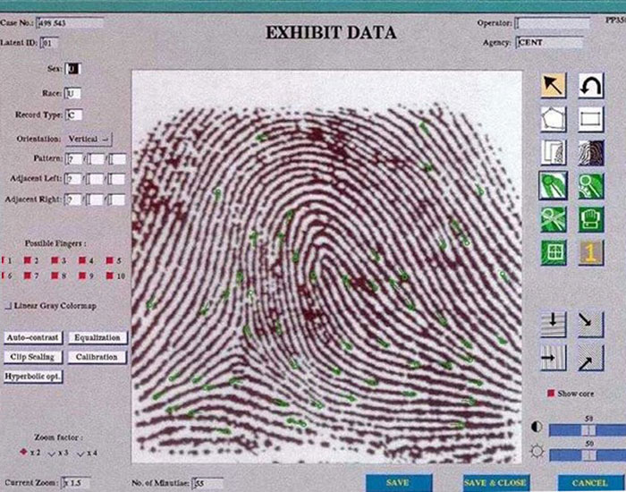 Fingerprint analysis IAFIS