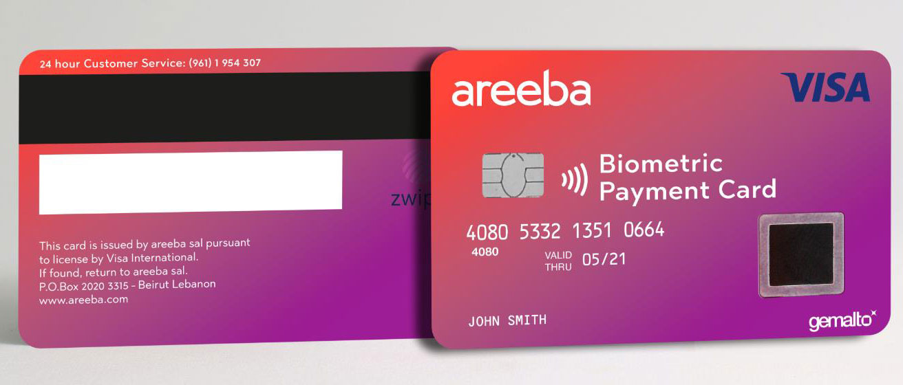 specimen of a biometric payment card