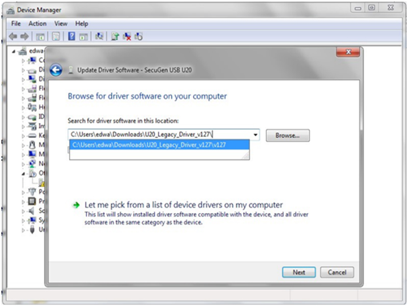 selecting secugen legacy driver